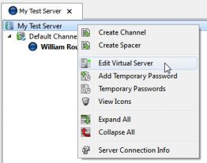 TeamSpeak - Edit Server
